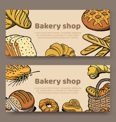 hand drawn set cards vector image