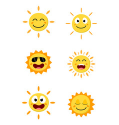 happy sun cartoon collection set vector image