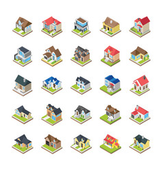houses buildings icons vector image
