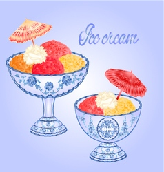 Ice cream faience sundaes blue background vector