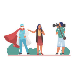 interview with doctor superhero in red cape vector image
