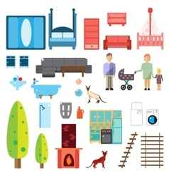 Isolated Furniture Icons vector image