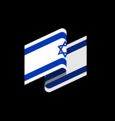 israel flag isolated israeli banner ribbon jewish vector image