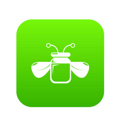 Jar bee honey icon green vector