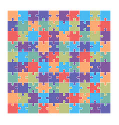 Jigsaw puzzle set of 100 colorful pieces vector