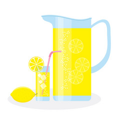 Jug and glass with lemonade vector