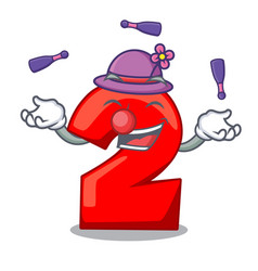 juggling number two red isolated on mascot vector image