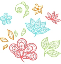 Lace floral color elements isolated on white vector