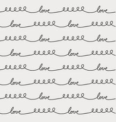 Love cursive continuous line seamless pattern vector