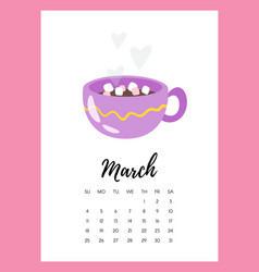 march 2018 year calendar page vector image
