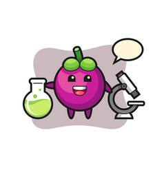 Mascot character mangosteen as a scientist vector