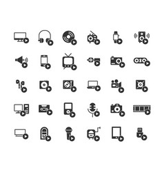 media devices and players solid icon set vector image