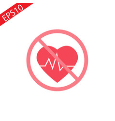 medical icon on white background red heart sign vector image