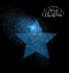 Merry christmas blue glitter star greeting card vector