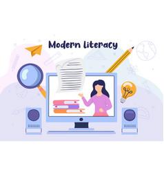 Modern literacy girl reading book computer class vector