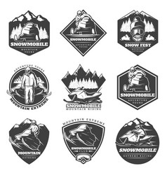 Monochrome winter sport extreme labels set vector