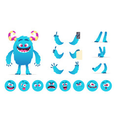 monster constructor eyes mouth emotions parts vector image