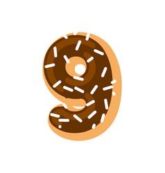 number 9 donut doughnut font nine sweet alphabet vector image