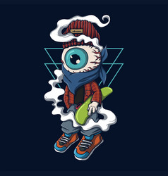 one eye character skateboard vector image