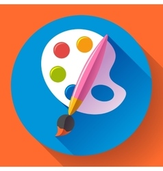 Paint brush with palette icon Flat design style vector