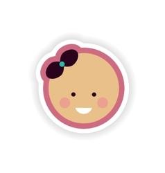Paper sticker on white background baby girl vector