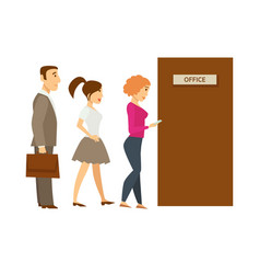 People line queue entering office cartoon vector