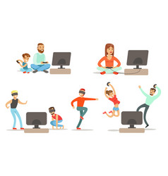 People playing video games set men happy women vector