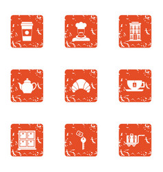 Personal room icons set grunge style vector