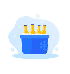 portable ice cooler with soda bottles vector image