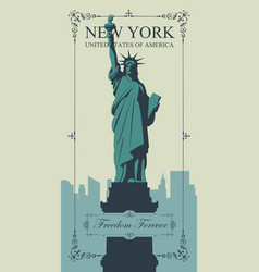 postcard with statue liberty and nyc skyline vector image