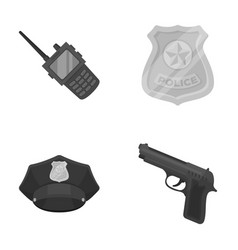 Radio police officer s badge uniform cap pistol vector