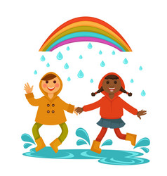 Rain weather happy chilren boy and girl friends vector