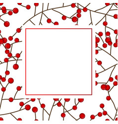 Red berry christmas on white banner card vector