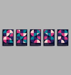 retro geometric covers design set 70s vector image