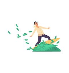 Rich banker cartoon happy wealthy man riding vector