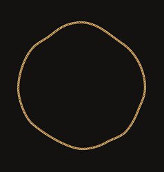 round frame made with golden chain on black vector image