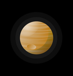 round yellow planet in space vector image