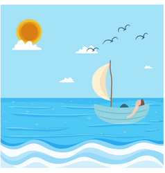 sea man floating in boat blue sky background vector image