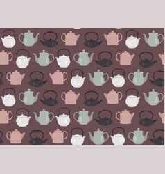 Seamless pattern teapots pink vector