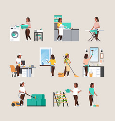 Set housewife doing housework different vector