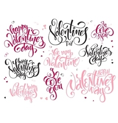 Set of hand lettering valentines day vector