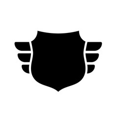 shield black icon outline shield simple wings vector image