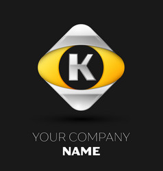 silver letter k logo in the silver-yellow square vector image
