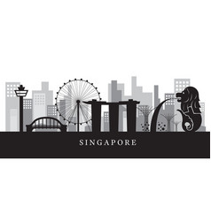 Singapore landmarks skyline in black and white vector