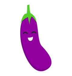 smile eggplant icon flat style vector image