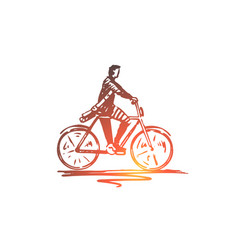 student bicycle man cycling concept vector image