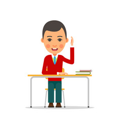 student studying young boy raised his hand vector image