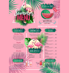 summer menu design with flamingo and tropic leaves vector image