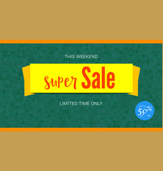 super sale yellow banner badge of fifty percent vector image