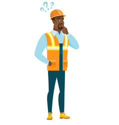 thinking builder with question marks vector image vector image